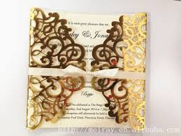Wedding Cards Invitation Royal Tapestry Laser Cut Invitations Metallic Gold Luxury