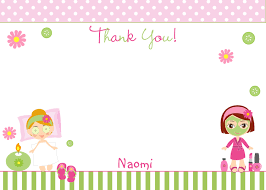 Spa Birthday Party Thank You Note Girls