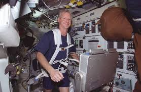 Astronaut Steven A Hawley Mission Specialist Runs On Treadmill The Middeck
