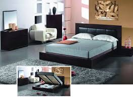 Espresso Finish Contemporary Bedroom Set With Storage Bed