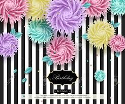 Background With 3d Flowers And Text Paper Art Templates