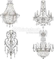 Set Of Chandelier Drawings Vector Art