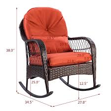 Gymax Patio Rattan Wicker Rocking Chair Porch Deck Rocker Outdoor Furniture  W/ Cushion Mainstays Cambridge Park Wicker Outdoor Rocking Chair Folding Plush Saucer Multiple Colors Walmartcom Mahogany With Sling Back Natural 6 Foldinhalf Table Black Patio White Solid Wood Slat Brown Shop All Chairs