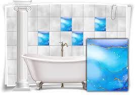 fliesen aufkleber folie marmor öl ölfarben abstrakt bad gold blau lila wc deko küche