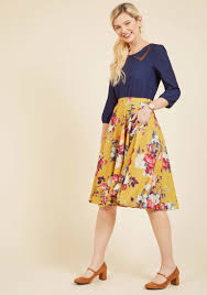 ikebana for all a line midi skirt in saffron floral modcloth