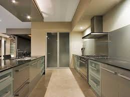 Contemporary Galley Kitchen Design With Grey Aluminum Modern