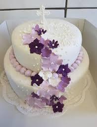 tauftorte mädchen lila blumen violett mit fondant
