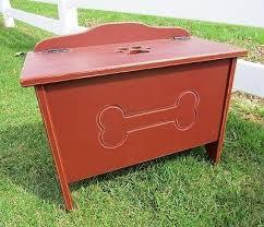 pet toy box handmade dog cat wood storage chest w bone paw print