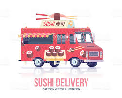 Sushi Truck Vector Japanese Food Wagon Street Cuisine Stock Vector ...