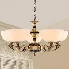 5 Light Uplight Glass Shade Antique Brass Chandeliers