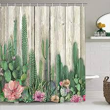 kaktus duschvorhang aus holz mit 12 haken kakteen tropische sukkulenten duschvorhang blütenpflanze blumen badezimmer duschvorhänge mehrfarbig