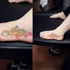 Mountain Sunset Tattoo On Foot