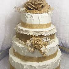Rustic Burlap Lace Cake Topper With Matching Pick And For Tiers Ready To