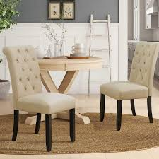 Furmax Dining Chairs Luxurious Tufted Fabric Parson Chair Side Chair With  Solid Wood Legs Tall Back Set Of 2 (Beige) Ding Room Elegant Kfine Classic Upholstered Parsons Fniture Parson Chair For Your Interior Ideas Contemporary Gray Velvet Nailhead Set Kelsi In Blue Simple And Chairs Floral Fabric Wyndenhall Normandy 7 Pc With 6 And 66 Inch Wide Table Skirted Fresh Sarkis Muses 7piece Rectangular Back By Progressive At Wayside West Design Rustic Chairs Jax 5 Piece Rooms