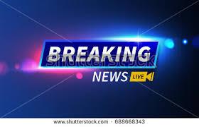 Stock Vector Illustration Logo Breaking News Live Banner Police Lights Background Bokeh