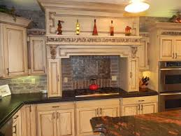 Gallery For Inimitable Country Kitchen Decor Items With Red Paint Colors And Subway Tile Backsplash Also Two Burner Gas Stove Plus Oven