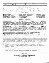 Hotel General Manager Resume Samples New Template Restaurant For Free Of Best