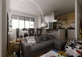 Modest Open Living Room With Metal Standing Lamp And L Shape Dark Grey Bed Sofa Decor Idea