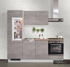 pino küche 220 cm beton perlgrau küchenzeile einbauküche