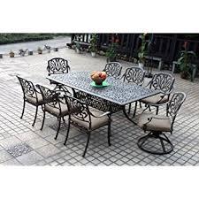 Cast Aluminum Patio Furniture With Sunbrella Cushions by Amazon Com Darlee Elisabeth Cast Aluminum 9 Piece Dining Set With