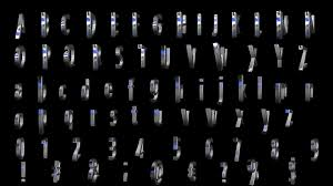 3d letters numbers signs spinning metalic effects loop alpha