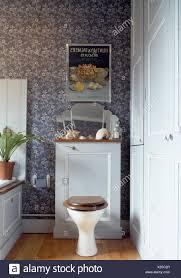 toilette im 70er jahre badezimmer mit blauen tapeten