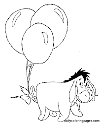 Printables Disney Cartoons Eeyore With Balloons Coloring Page For Kids