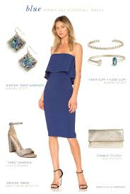 Blue Strapless Dress For A Wedding Guest