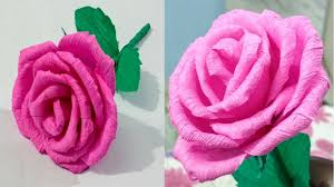 DIY Paper RoseCrepe Flower Making Tutorial Craft