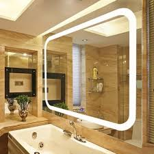 broadway large rectangular wall mounted vanity mirror with led