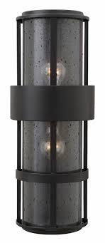 hinkley 1909sk saturn modern satin black outdoor wall light