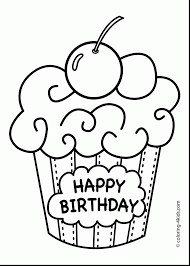 Great Happy Birthday Cake Printable Coloring Pages With And For