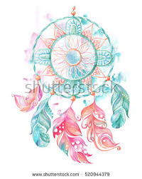 Dream Catcher Feathers And Beads On A Watercolor Background Ethnic