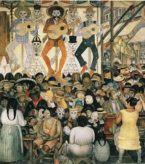 Famous Spanish Mural Artists by Diego Rivera The Day Of The Dead Detail Fresco 1924 Art