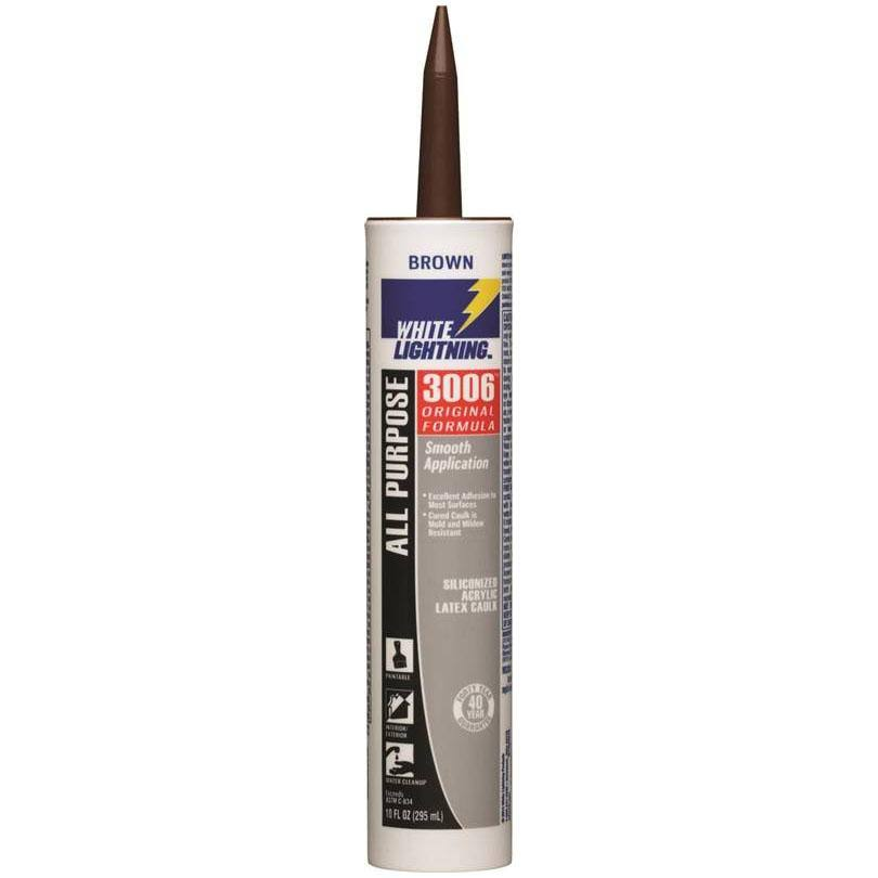 White Lightning Siliconized All Purpose Acrylic Latex Adhesive Caulk - Brown, 10oz
