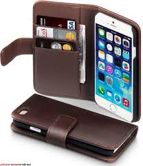 Apple iPhone 6 6S Genuine Leather Wallet Case Brown