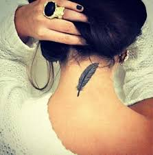 Feather Tattoo On Back Neck