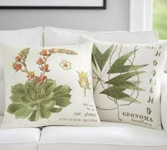 succulent embroidered pillow covers pottery barn
