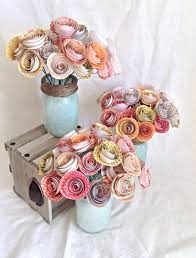 Table Numbers Wedding Centerpiece Paper Roses Rustic Mason Jar Spring