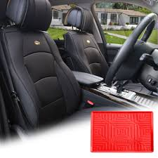 100 Truck Dash Covers FH Group Solid Black PU Leather Front Bucket Seat Cushion For
