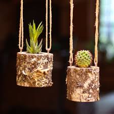 Hanging Planter Indoors Rustic Succulent Log Cactus Holder Plant Pots Gifts For Her Air Gift
