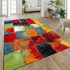 paco home moderner kurzflor designer teppich mit karo design gemälde optik mehrfarbig bunt grösse 160x230 cm