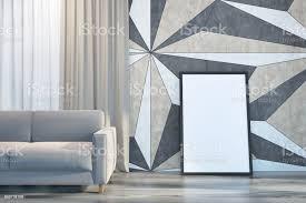 geometrische wand muster wohnzimmer sofa und poster stockfoto und mehr bilder architektur