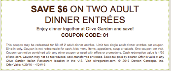 $6 off Dinner for Two at Olive GardenLiving Rich With Coupons