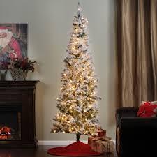 75 Slim Flocked Christmas Tree by 7 5 Ft Flocked Christmas Tree With White Lights Kirklands
