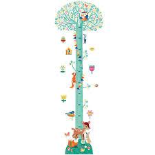 toise chambre bébé sticker toise arbre en fleurs big room by djeco