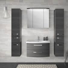 badezimmer set in graphit struktur fes 4010 66 mit waschtisch spiegelschrank 3 hängeschränken b h t 174x200x46cm