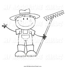 Vector Cartoon Agriculture Clipart of a Black and White Happy Farmer Boy Holding a Rake and