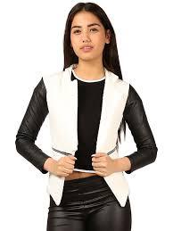 women ladies quilted pu leather look long sleeve zip waterfall