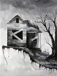 Haunted House Step By Acrylic Painting On Canvas For Beginners